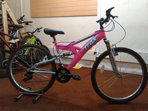TRAX TFS,1 PINK/SILVER 26 INCH WHEEL 18 SPEED FULL SUS GOOD CONDITION