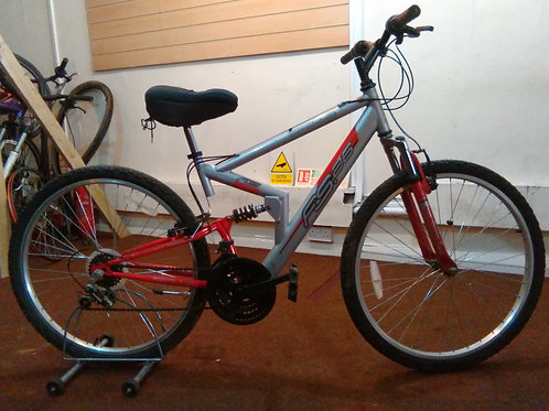 APOLLO FS26 RED/SILVER 26 INCH WHEELS 18 SPEED FULL SUS GOOD CONDITION