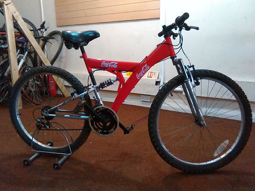 COCA COLA BIKE 26 INCH WHEELS 18 SPEED FULL SUS RED/SILVER GOOD CONDITION