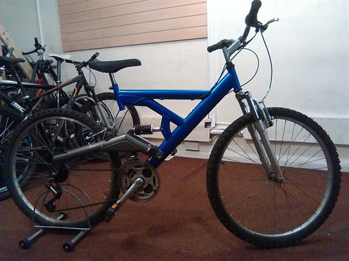 FULL SUS 26 INCH WHEEL BLUE/SILVER 21 SPEED GOOD CONDITION
