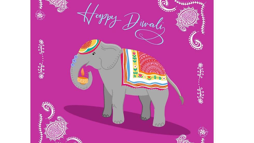 Fancy Diwali elephant card