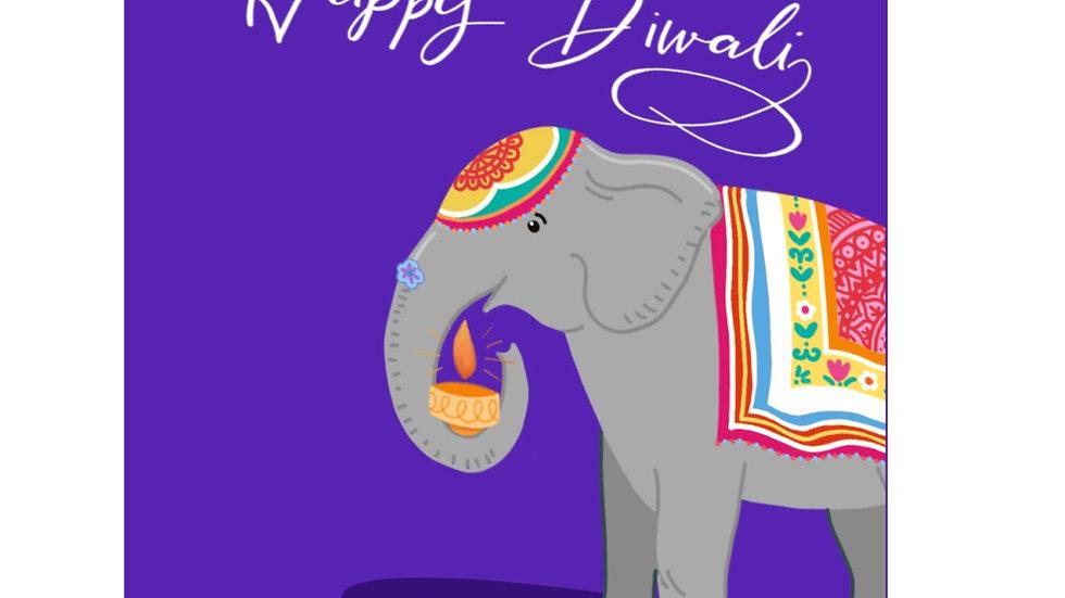 PACK OF SIX: Diwali elephant cards