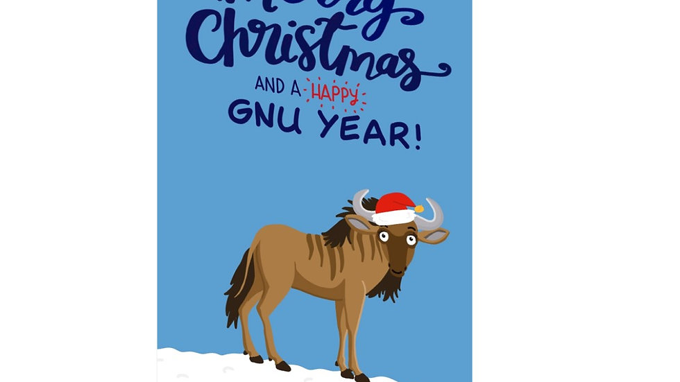 PACK OF SIX: Merry Christmas and a happy gnu year