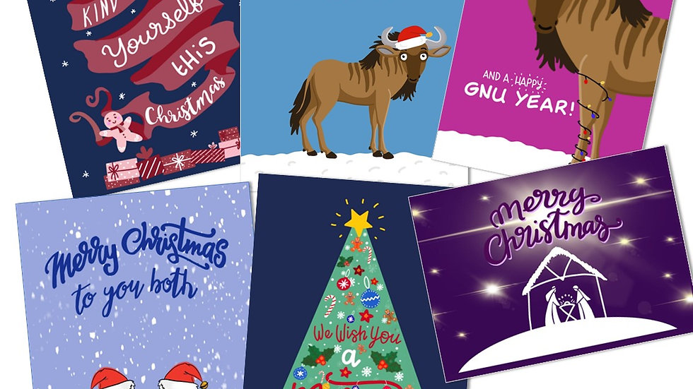 MIXED PACK OF SIX CHRISTMAS CARDS