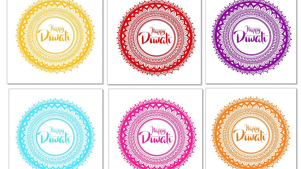 PACK OF TWELVE: mixed pack of Diwali cards