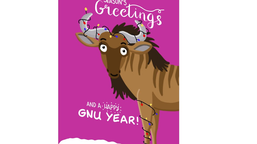 PACK OF SIX: Season's greetings and a happy gnu year