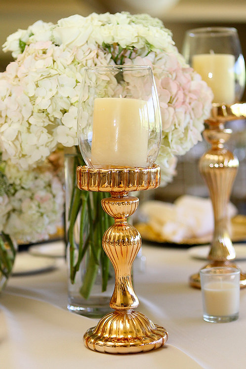 3 PIECE ROSE GOLD CANDLE HOLDERS