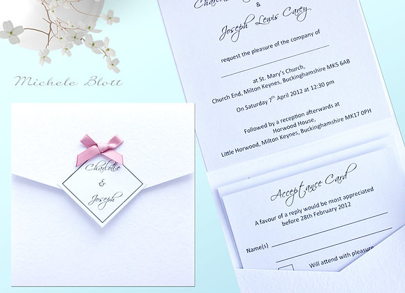 Emillie wedding invitation and r s v p card