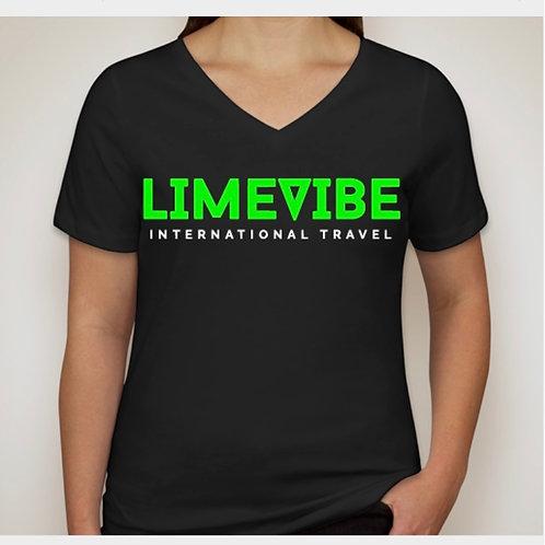 Lime Vibe Travel Women's V-Neck T-Shirt: