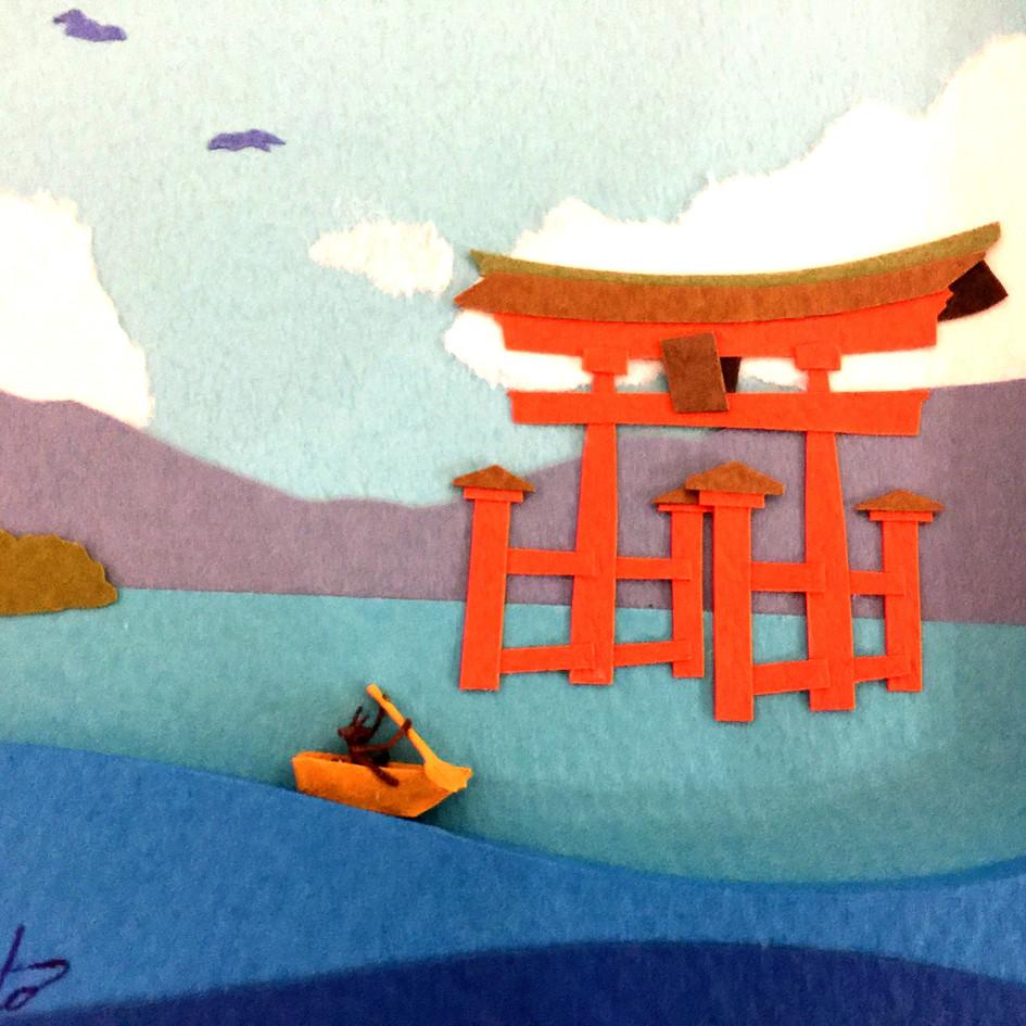 ペーパークラフト「宮島へ来ました」