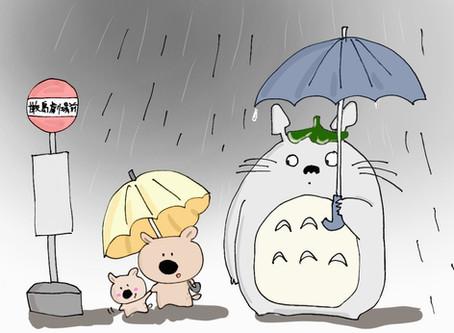 宮島は、雨。