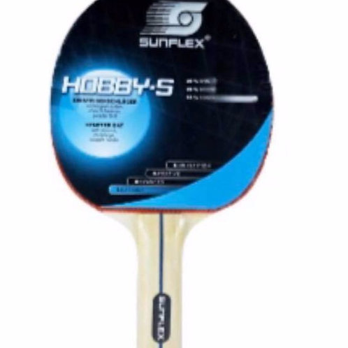 """Sunflex """"Hobby-S"""" Learning T/T Bat w/ Pips Out, w/o Sponge, Straight Handle"""