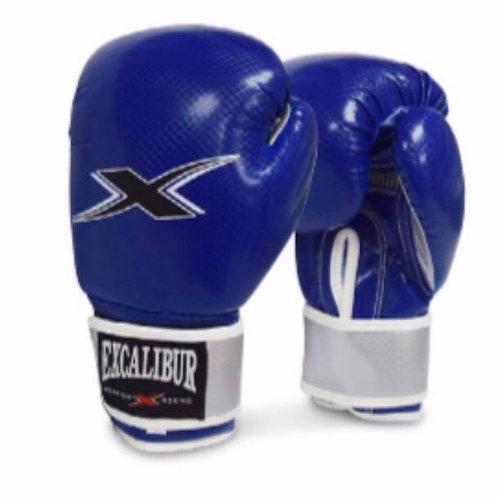 Excalibur Blue/Silver Carbon Texture PU Gloves