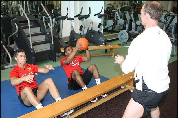 Mick Clegg training with Ronaldo