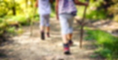 Children hiking in mountains or forest w