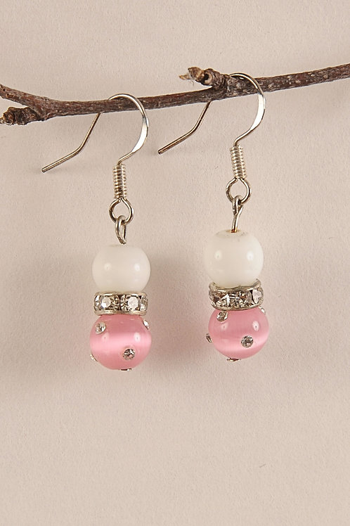Light Pink Glass Beaded Sterling Silver Earrings