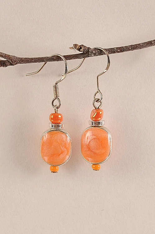 Peach Glass Beaded Sterling Silver Earrings