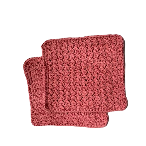 Dusty Rose Crocheted Cotton Wash Cloth Pair
