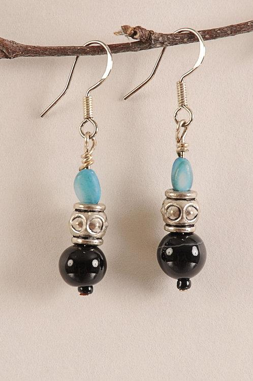 Blue & Black Glass Beaded Sterling Silver Earrings
