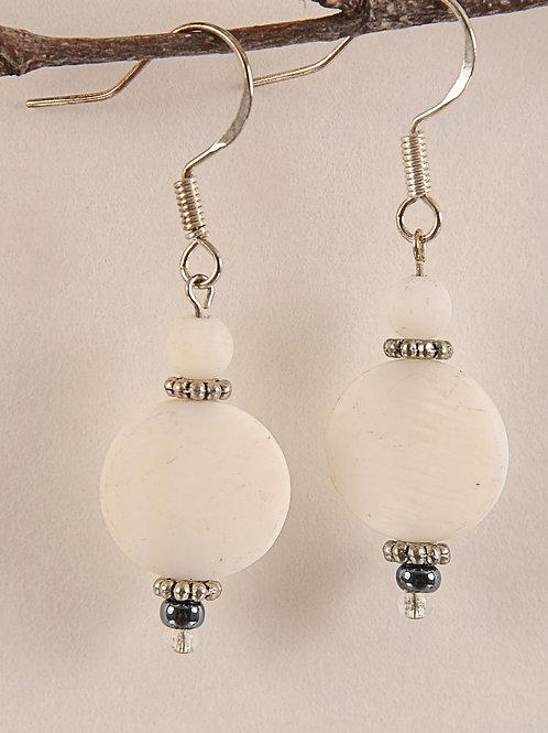 White Glass Beaded Sterling Silver Earrings