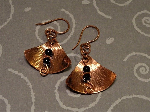 Hammered Copper Shield Earrings with Black Bead Drop