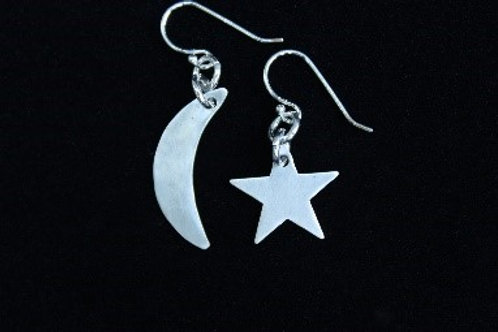 Moon and Stars Earrings, Sterling Silver