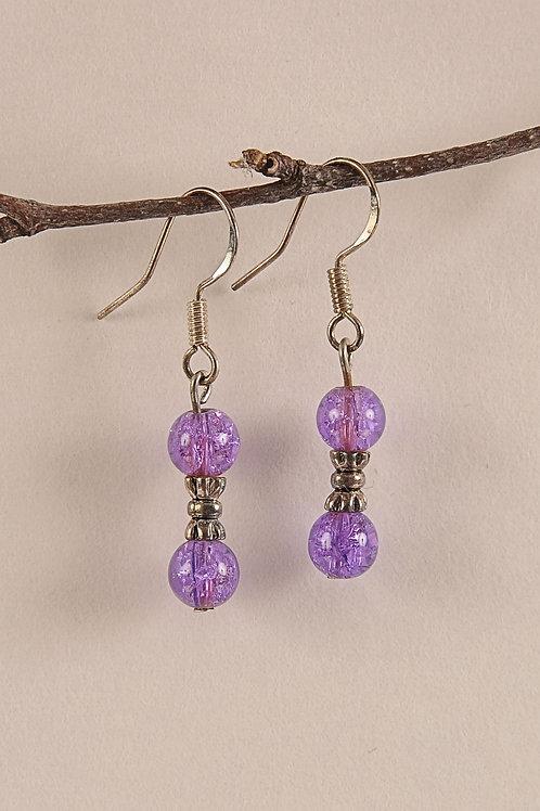 Purple Glass Beaded Sterling Silver Earrings