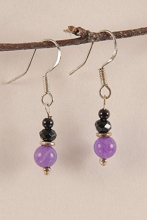 Purple & Black Glass Beads Sterling Silver Earrings
