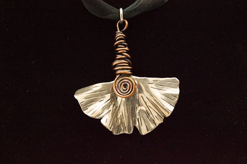 Sterling Silver and Copper Ginkgo Leaf Necklace