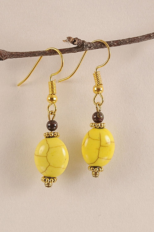 Canary Yellow Glass Beads on Gold Colored Hooks