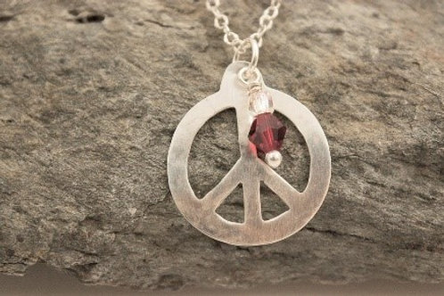 Sterling Silver Peace Symbol with a Red Swarovski Crystal