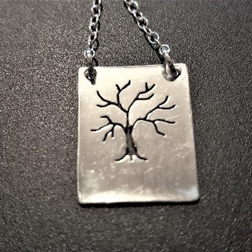 Sterling Silver Pierced Tree Necklace