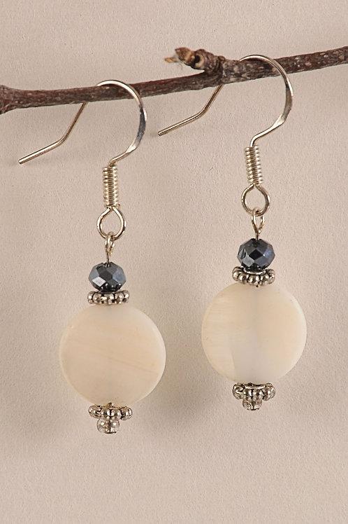 White & Blue Glass Beaded Sterling Silver Earrings