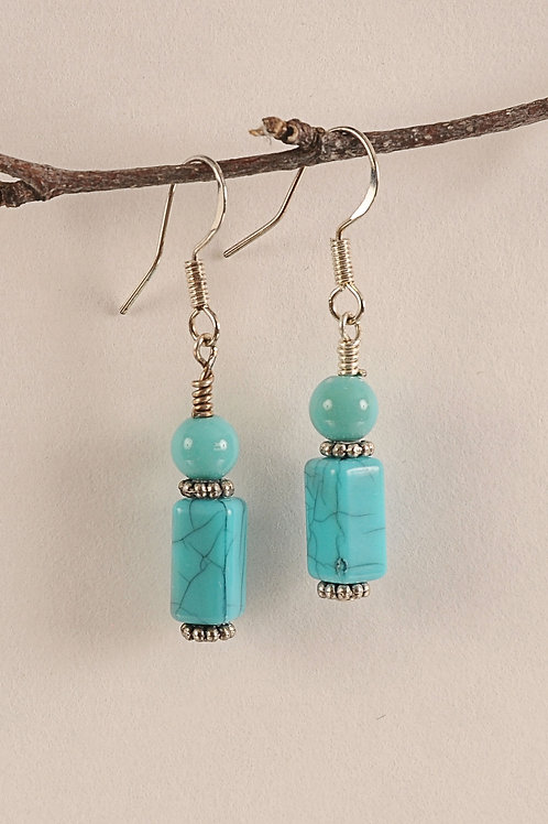 Turquoise Glass Beaded Sterling Silver Earrings