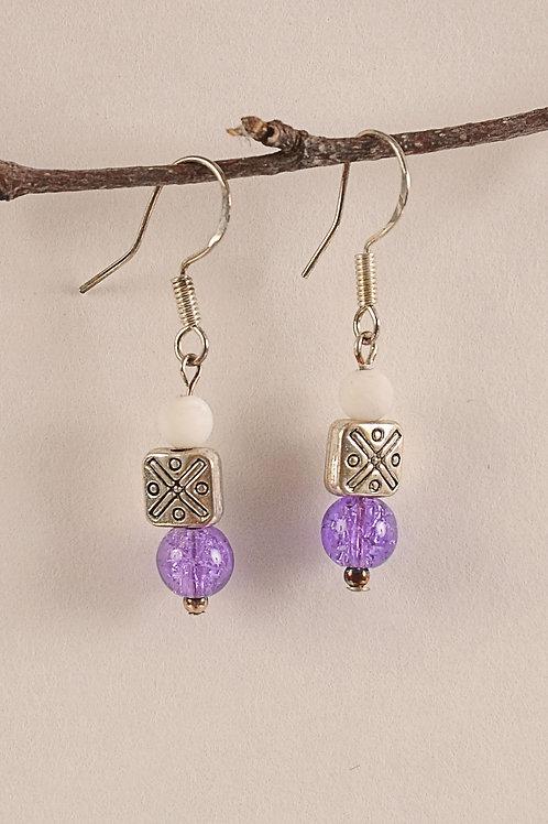 Silver Purple Glass Beads Earrings