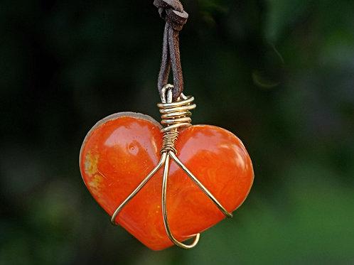 Orange Heart Resin Necklace