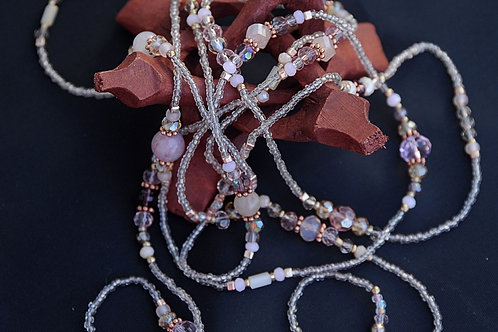 """Clear Pink and Silver Glass Beaded Necklace 44"""""""