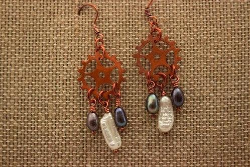 Copper Gear Earrings with Freshwater Pearl Drop