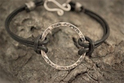 Sterling Silver Hammered Circle and Leather Bracelet
