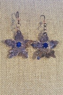 Patterned Copper Flowers with Blue CZ Stone