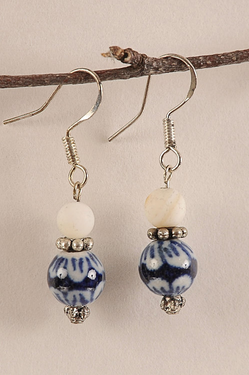 White & Blue Swirled Glass Beaded Earrings on Sterling Silver Hooks