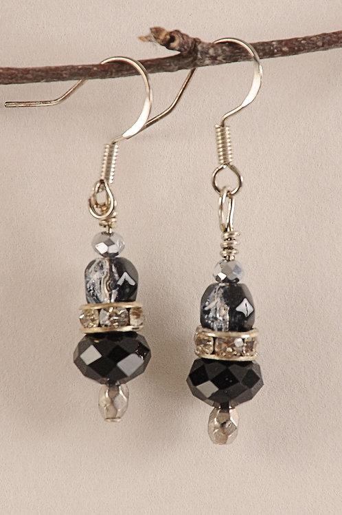 Black Glass Beaded Sterling Silver Earrings