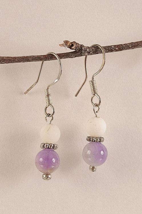 Light Purple & White Glass Beaded Sterling Silver Earrings