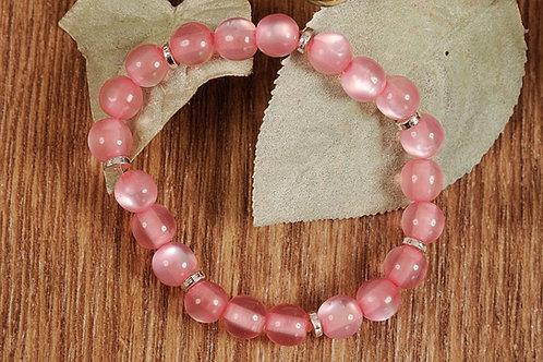 "Pink Glass Beads Stretch Bracelet 7 3/4"""