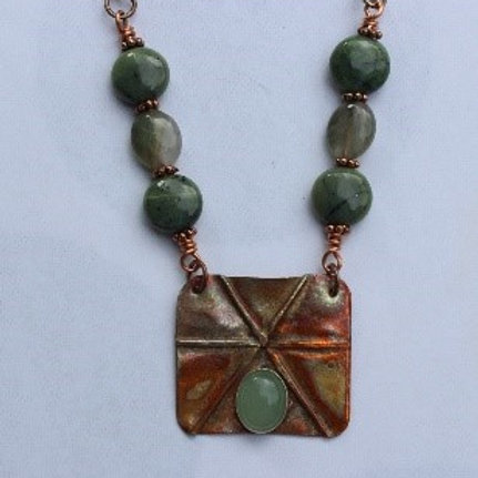 Foldformed Copper Rectangle Necklace w/ Aventurine Cab, Nephrite and Agate Beads