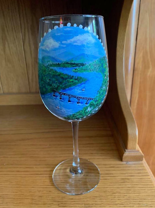 Hand Painted Hudson Valley River Scene Wine Glass