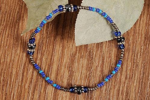 "Blue Glass Beads Stretch Bracelet 8"""