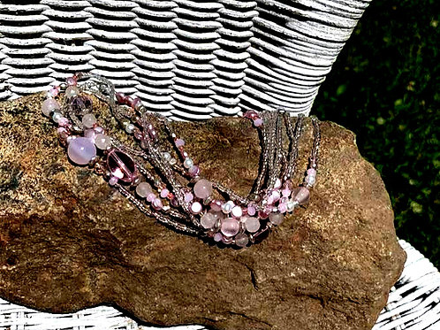 Light Pink, Gold & Silver Glass Beaded Necklace 44""
