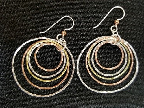 Sterling Silver, Copper and Brass Dangling Hoop Earrings