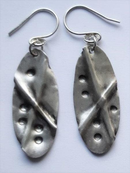 Sterling Silver Oval Fold Formed Earrings
